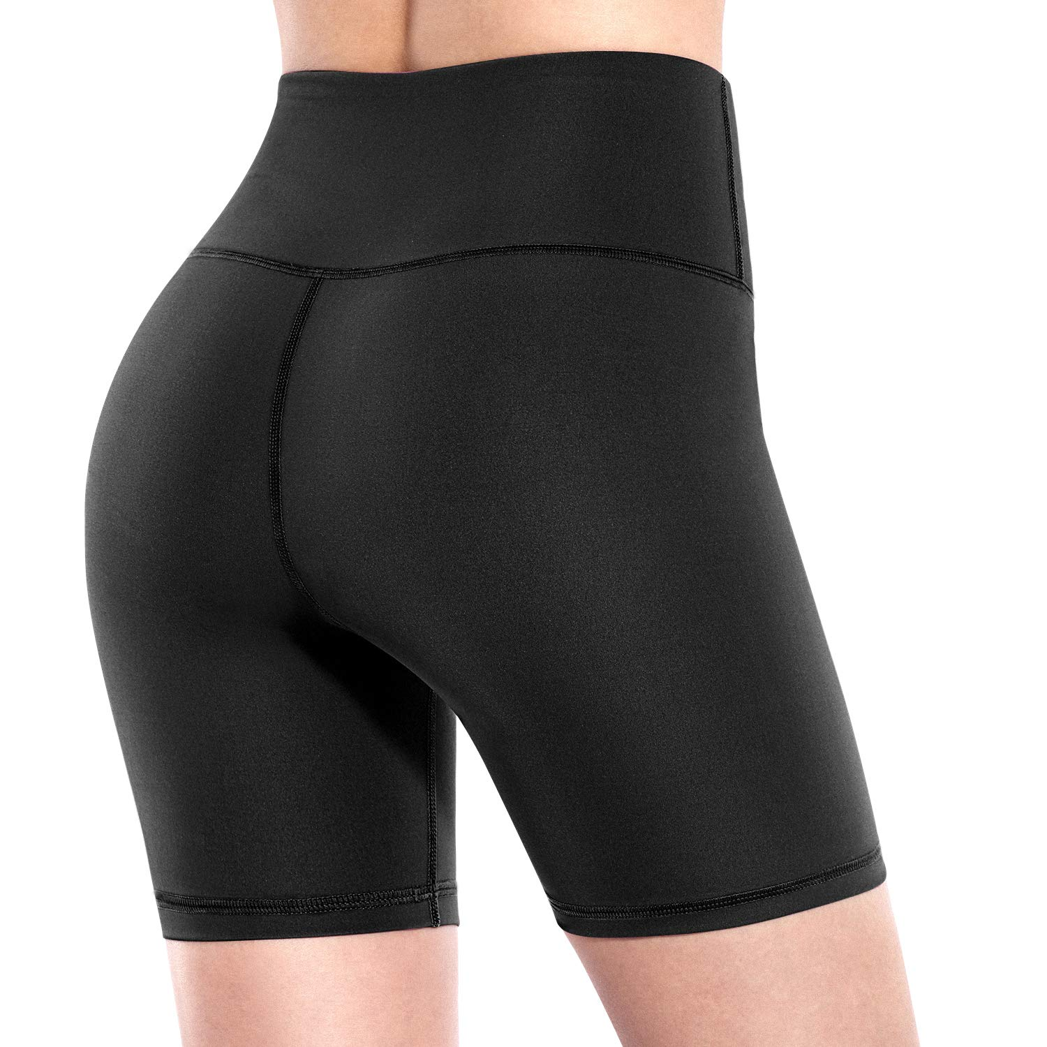 Promover High Waist Yoga Shorts for Women Non See-Through Workout Running Pants (Black, S
