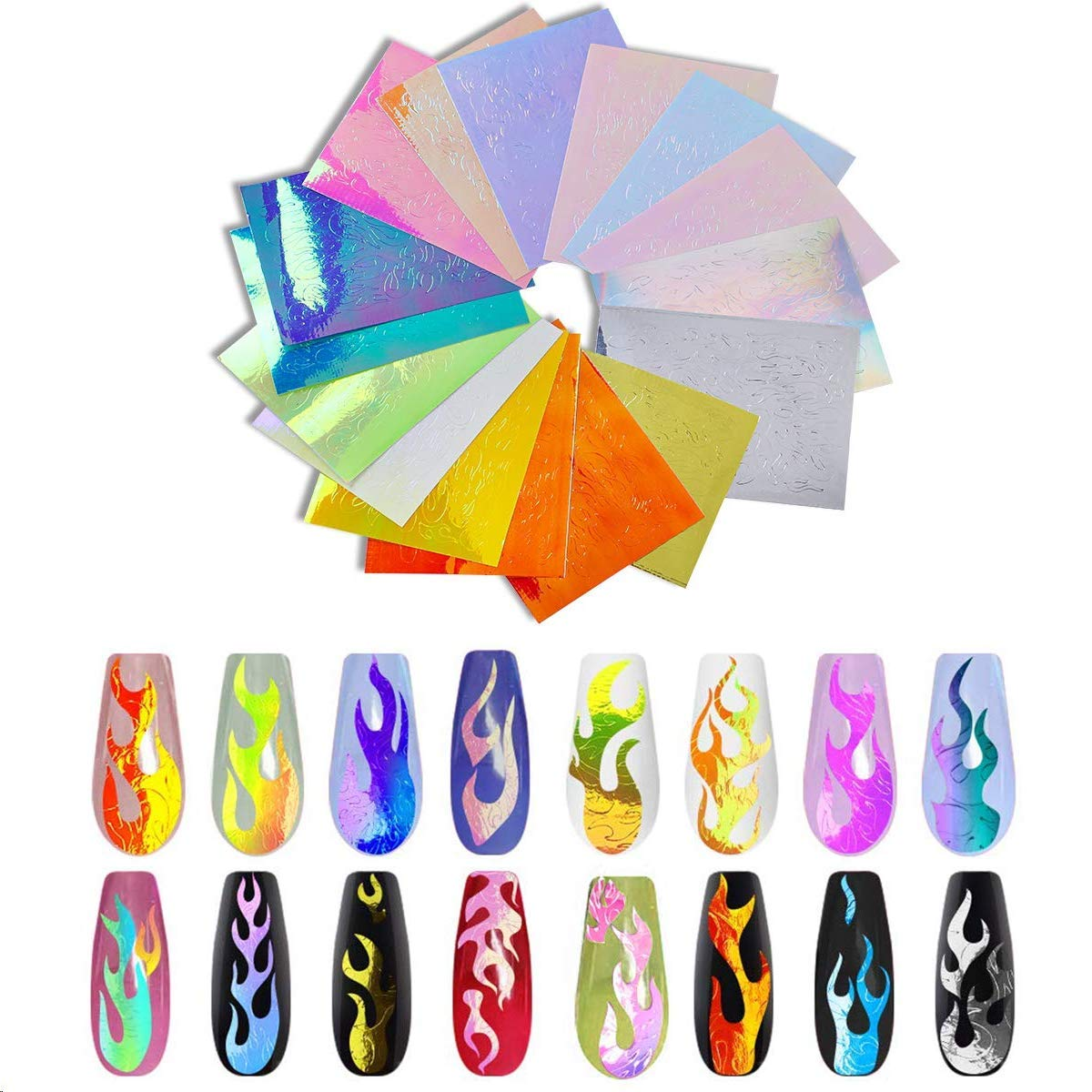 32Pcs Flame Reflections Nail Stickers, Holographic Fire Nail Stickers and DIY 3D Vinyls Art Decals, Reflections Nail Stencil for Nails Manicure Tape Adhesive Foils Decoration