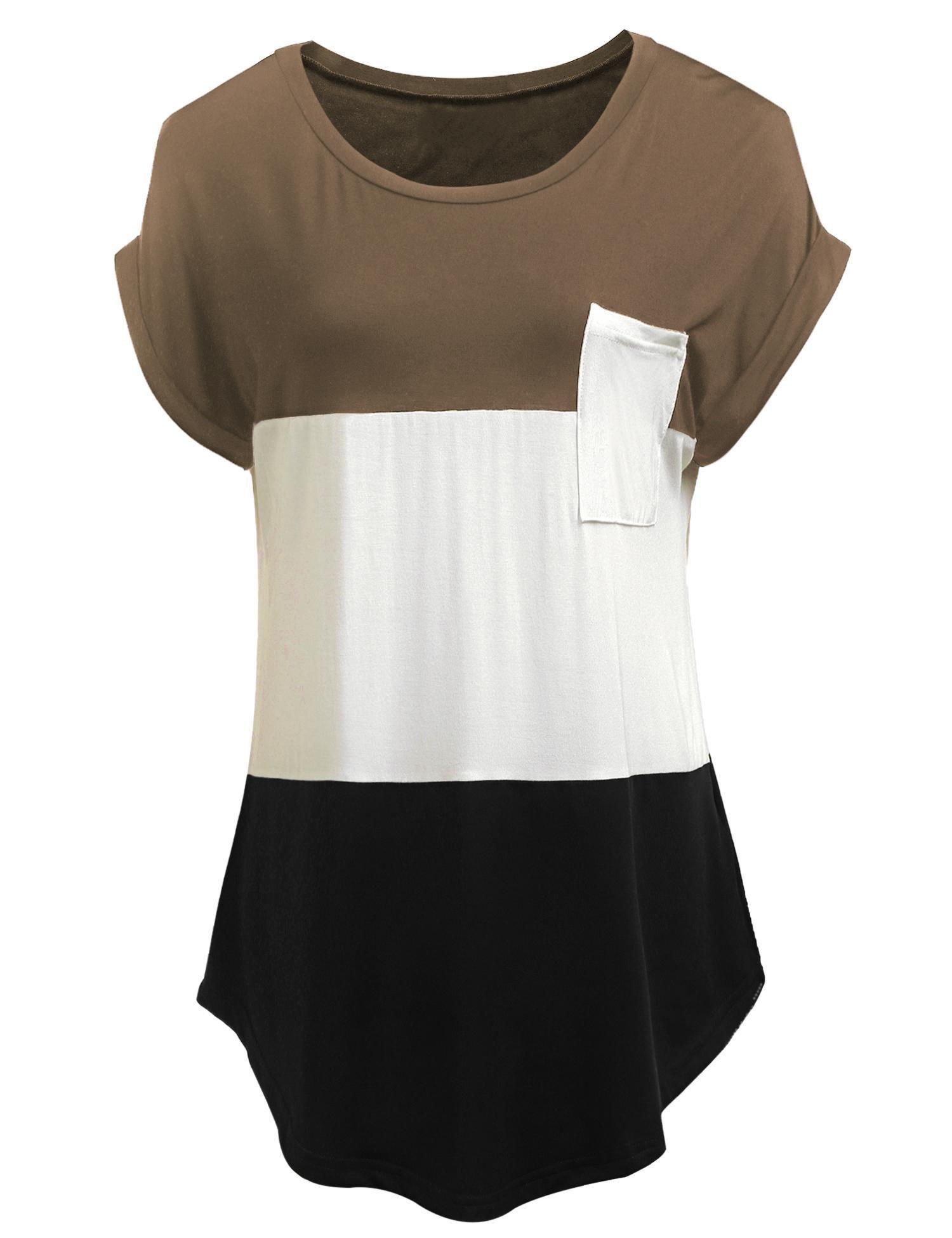 Concep Women's Summer Tops Color Block Short Sleeve Pocket T-Shirt Tunics S-XXXL