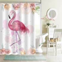 MitoVilla Vintage Boho Flamingo Florals Shower Curtain, Watercolor Hand Drawn Exotic Wildlife with Tropical Flowers Backdrop Bathroom Accessories, Bird Gifts for Women and Baby Girls, Pink, 72x72