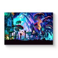 """HAOSHUNDA HSD Wall Art Rick and Morty Posters On Canvas Oil Painting Posters and Prints Decorations Wall Art Picture Living Room Wall Ready to Hang 12"""" x 18"""" 16"""" x 24"""" (16""""x24""""x1, Artwork-18)"""