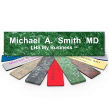 LHS My Business   Engraved Desk Name Plate Personalized Green Marble Plastic Office Sign White Letters   Desk Decor 2x8 - S4