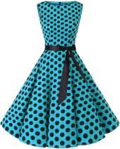 Bbonlinedress Womens Vintage 1950s Boatneck Sleeveless Retro Rockabilly Swing Cocktail Dress Blue Black BDot S