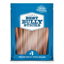 Best Bully Sticks Odor-Free Angus 12-inch Bully Sticks (24 Pack) - Made of All-Natural, Free-Range, Grass-Fed Angus Beef - Hand-Inspected and Approved