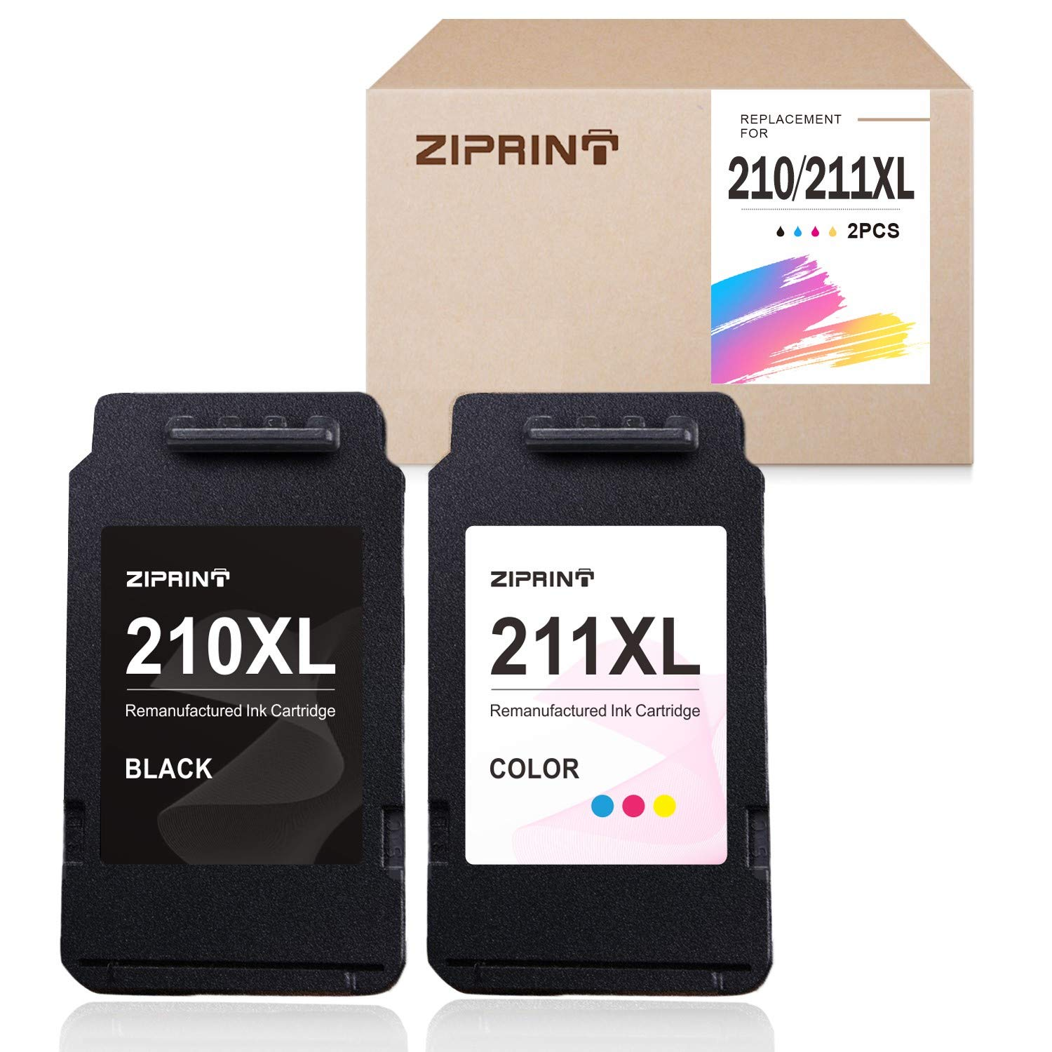 ZIPRINT Remanufactured Ink Cartridge Replacement for Canon 210XL 211XL PG-210 XL CL-211 XL for Canon PIXMA MX350 MP280 MX410 MP250 MX340 MP495 MX330 MP240 IP2702 IP2700 (1 Black, 1 Tri-Color)