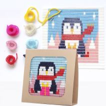 "Sozo - Colorful DIY Needlepoint Embroidery Craft Kit for Beginners. Eco Friendly Package That Turns into a Display Frame, Easier Than Cross Stitch. Size - 8"" x 8"" (Penguin)"