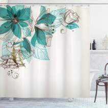 """Ambesonne Turquoise Shower Curtain, Flowers Buds Leaf at The top Left Corner Season Celebrating Theme, Cloth Fabric Bathroom Decor Set with Hooks, 84"""" Long Extra, Teal Brown"""