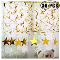 Gold Star Hanging Swirl Decorations,Hanging Gold Party Supplies for Graduation Wedding Baby Shower Decorations,Pack of 30