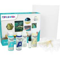 AUREUO Acrylic Pouring Paint Set 4 Colors 4 Oz. High Flow Pre-Mixed Acrylic Paint Bottles & 9x12 Inch Stretched Canvas & Silicone Oil, Gloves, Stirring Rod, Tablecloth Paint Pouring Kit-Beach