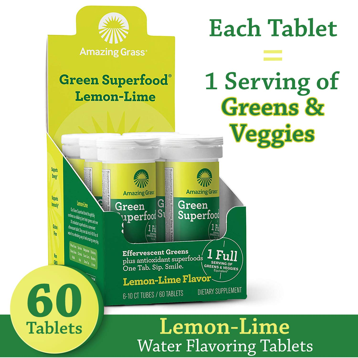 Amazing Grass Effervescent Tablets: Green Superfood Water Flavoring Tablet with Antioxidants & Alkalizing Greens, Lemon Lime, 60 Count