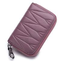imeetu Credit Card Holder, RFID Blocking Leather Wallet with Zipper(Purple)