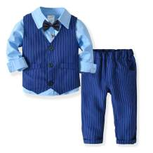 YALLET Little Boys Gentleman Long Sleeves Suit Set, Baby Boy Gentleman Outfits Suit with Vest, Pant, Shirt and Bow Tie