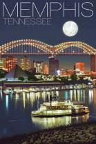 Memphis, Tennesseee - Skyline at Night (9x12 Art Print, Wall Decor Travel Poster)