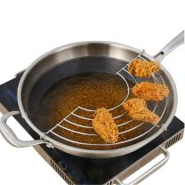 TEERFU Strainer for Fry Pan, Drainer Rack for Tempura, Fried chicken, Set of 2-28cm
