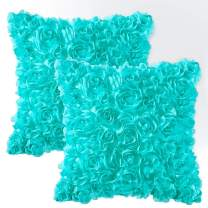 MIULEE Pack of 2 Decorative Romantic Stereo Chiffon Rose Flower Pillow Cover Solid Square Pillowcase for Sofa Bedroom Car 16x16 Inch 40x40 cm Aqua