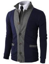 H2H Mens Casual Slim Fit Jacket Cardigans Long Sleeve Thermal
