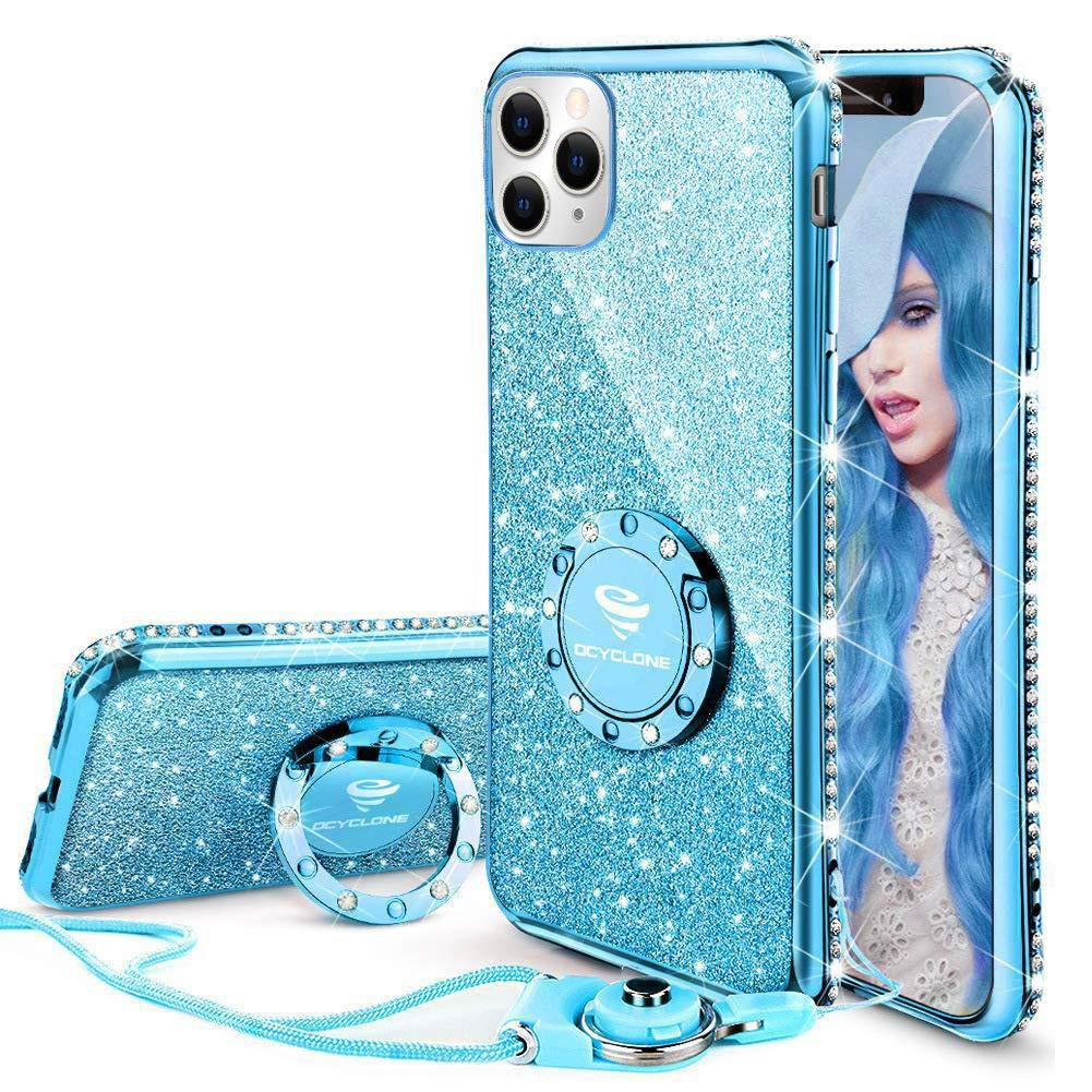 OCYCLONE Cute iPhone 11 Pro Max Case, Glitter Luxury Bling Diamond Rhinestone Bumper with Ring Grip Kickstand Protective Thin Girly iPhone 11 Pro Max Case for Women Girl [6.5 inch] 2019 - Blue