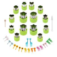 Kasmoire Vegetable Cutter Shapes Set,Green Mini Pie Cookie Cutters Set Fruit Pastry Stamps Mold,for Decorative Kids Baking and Food Supplement Tools -36 Pcs