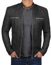 Real Lambskin Leather Jacket Men - Cafe Racer Leather Motorcycle Jacket for Men