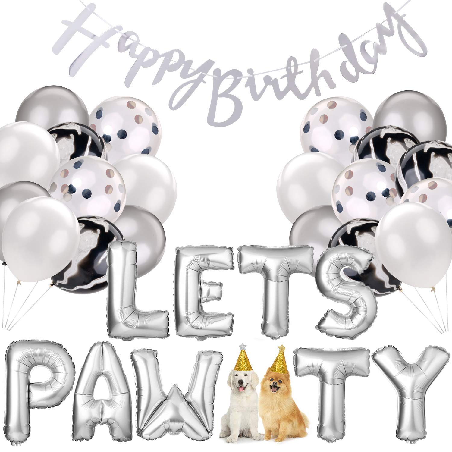 Dog Birthday Party Supplies,Pet Birthday Decorations Set, Lets Pawty Balloons,Happy Birthday Banner, Confetti Balloons for Pet Party Decoration Set (Silver)