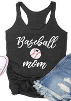 Susongeth Baseball Mom Tank Tops Workout Sports Racerback Letters Print Sleeveless T-Shirt Tees for Women