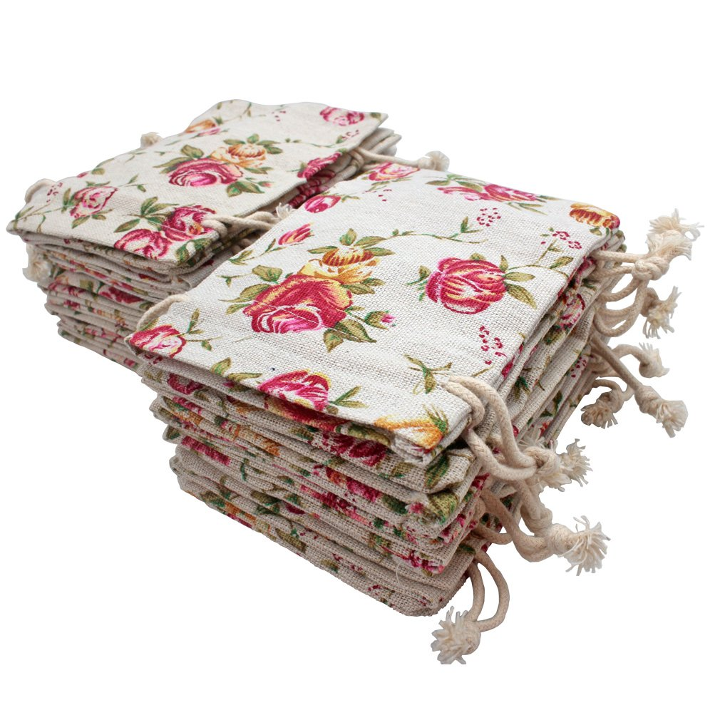 FASOTY 24 Pack Rose Double Drawstring Burlap Bags Flower Pouch Bags Linen Bags Reusable Burlap Gift Bags Jewelry Pouches Sacks for DIY Craft Wedding Party Gift 3.7 X 5.2 Inches