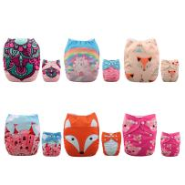 ALVABABY New Design Reuseable Washable Pocket Cloth Diaper 6 Nappies + 12 Inserts 6DM28