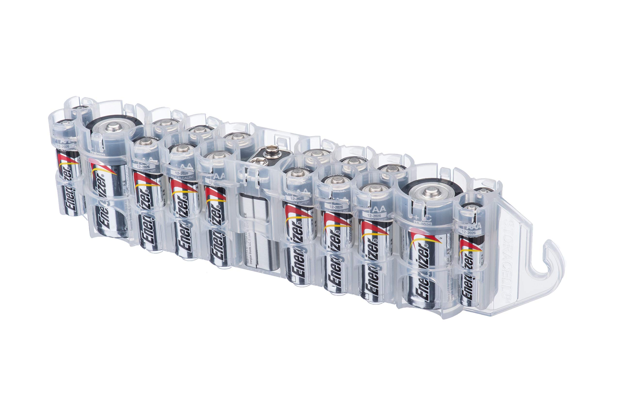 Storacell by Powerpax PBC Original Multi-Pack Battery Caddy, Clear