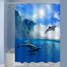 MitoVilla Oceanview Dolphin Shower Curtain with Sunlight, a Flock of Playful Dolphins Swimming Underwater and One of Them Leaping Out from Big Sea Surfing Wave, Cloth, Blue, 72 x 78 inches