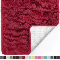 Gorilla Grip Original Luxury Chenille Bathroom Rug Mat, 60x24, Extra Soft and Absorbent Shaggy Rugs, Machine Wash Dry, Perfect Plush Carpet Mats for Tub, Shower, and Bath Room, Red