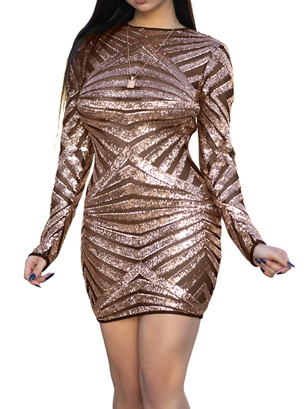 Yizenge Women's Long Sleeve Sequin Backless Bodycon Cocktail Party Mini Dress