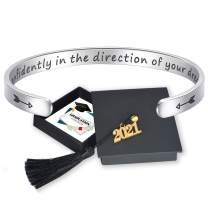CERSLIMO Graduation Gifts for Her 2021 High School- Personalized Engraved Inspirational Bracelets College Graduates Congratulation Jewelry Gifts with 2021 Cap Box