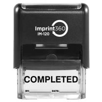 "Supply360 AS-IMP1108K - Completed Stamp with by: & Date:, Black Ink, Heavy Duty Commerical Self-Inking Rubber Stamp, 9/16"" x 1-1/2"" Impression Size, Laser Engraved for Clean Precise Imprints"