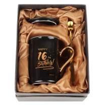 WHATCHA Happy 16th Birthday Black Gold Funny Coffee Mugs 16 Birthday Gift for Teens Boys Girls Family Friends Ceramic Novelty Tea Cups 11oz