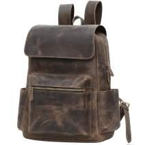 Jack&Chris Genuine Leather Backpack 15.6 Inch Laptop Vintage Shoulder Bag School College Bag for Men and Women,1802