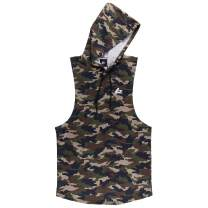 PAIZH Men's Camouflage Print Sleeveless Hoodie Bodybuilding Hooded Tank Top