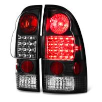 VIPMOTOZ For 2005-2015 Toyota Tacoma Pickup Truck Black Bezel Premium LED Tail Light Housing Lamp Assembly Replacement, Driver and Passenger Side