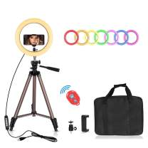 EMART 10 inch RGB Selfie Ring Light with 10Colors and 10 Brightness Levels, Adjustable Tripod Stand, Cell Phone Holder, LED Camera Ringlight for Make-Up Youtube Live Stream Video Photography Shooting