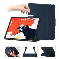 SUPFIVES iPad Pro 12.9 Case with Pencil Holder [Support Pencil Charging], Full Body Rugged Shockproof Case Shoulder Strap and Hand Strap+Auto Sleep/Wake for iPad Pro 12.9 3rd Gen 2018 (Blue+Black)