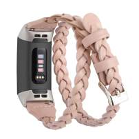 Moolia Double Leather Band Compatible with Fitbit Charge 4 / Fitbit Charge 3 / Fitbit Charge 3 SE, Slim Leather Watch Strap Double Tour Bracelet Replacement for Women Girls Woven Rose Pink
