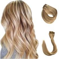 Clip in/on Hair Extensions 20 Inch Mixed Color Strawberry Blonde with Blonde Highlighte Clip in Hair Extensions Highlighted Real Human Hair Double Weft 7Pcs 17clips 120 Gram for Layies