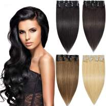 Modernfairy Hair Remy Human Hair Extensions Clip in for Women 8Pcs 18 Clips 75g Remy Clip in Hair Extensions Dark Brown