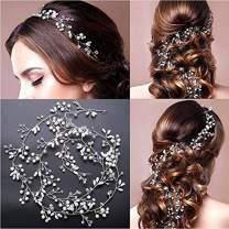 Wedding Headband Hair Accessories for Bride and Bridesmaid, Crystals Extra Long Hair Accessory for Party and Evening for Women and Girls (100 cm/39.37 Inch)