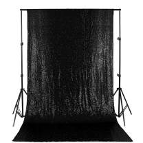 Sequin Backdrop 4FT X 8FT Sequin Curtain Backdrop Photo Booth Backdrop Black Glitter Backdrop for Party Backdrop Panels for Wedding