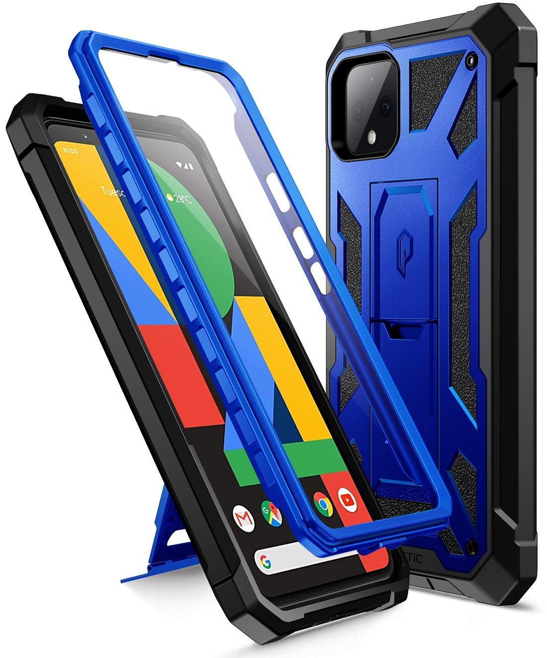 Poetic Spartan Series Designed for Google Pixel 4 5.7 inch Case, Full-Body Rugged Dual-Layer Metallic Color with Premium Leather Texture Shockproof Protective Cover with Kickstand, Metallic Blue
