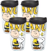 Tervis 1138611 Peanuts - Colossal Tumbler with Wrap and Black Lid 16oz, Clear
