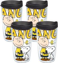 Tervis 1138609 Peanuts - Colossal Tumbler with Wrap and Black Lid 2 Pack 16oz, Clear