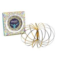 Mozi Geometric Magic Flow Ring - Easy to Use - 3D Arm Slinky Bracelet, Fidget Spinner Toy for Kids and Adults (Black and Gold)