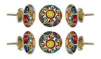 "Set of 6 Cabinet Knobs Ceramic Canterbury Handmade Drawer Pull Diameter 2.0"" (50 mm) Kitchen Cupboard Pull Dresser Door Handle by Trinca-Ferro"