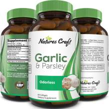 Odorless Garlic Pills For Weight Loss Hair Loss with Allicin – Premium Garlic Parsley Seed Extract Dietary Supplement - Detox - Boost Immunity Metabolism – Potent Antioxidant By Natures Craft